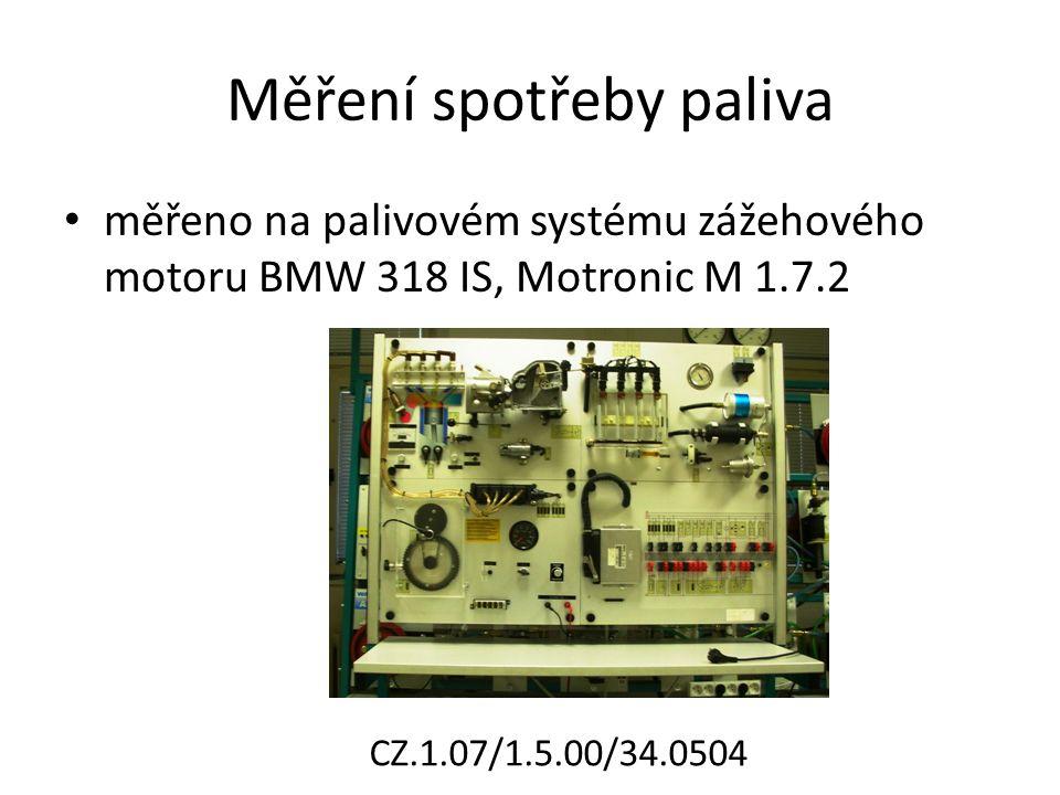 Měření spotřeby paliva měřeno na palivovém systému zážehového motoru BMW 318 IS, Motronic M 1.7.2 CZ.1.07/1.5.00/34.0504