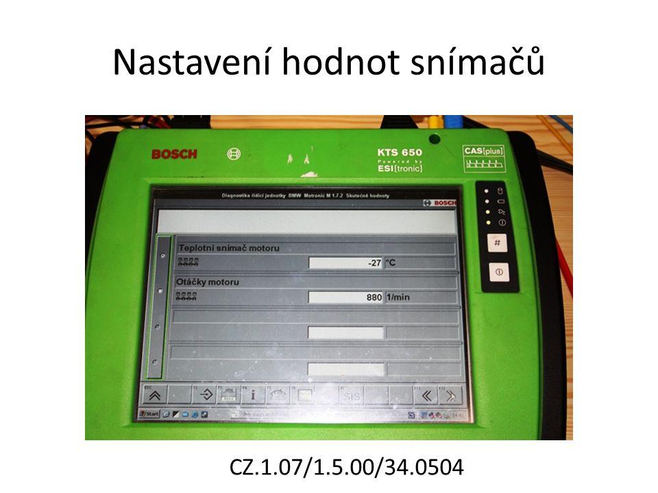 Nastavení hodnot snímačů CZ.1.07/1.5.00/34.0504