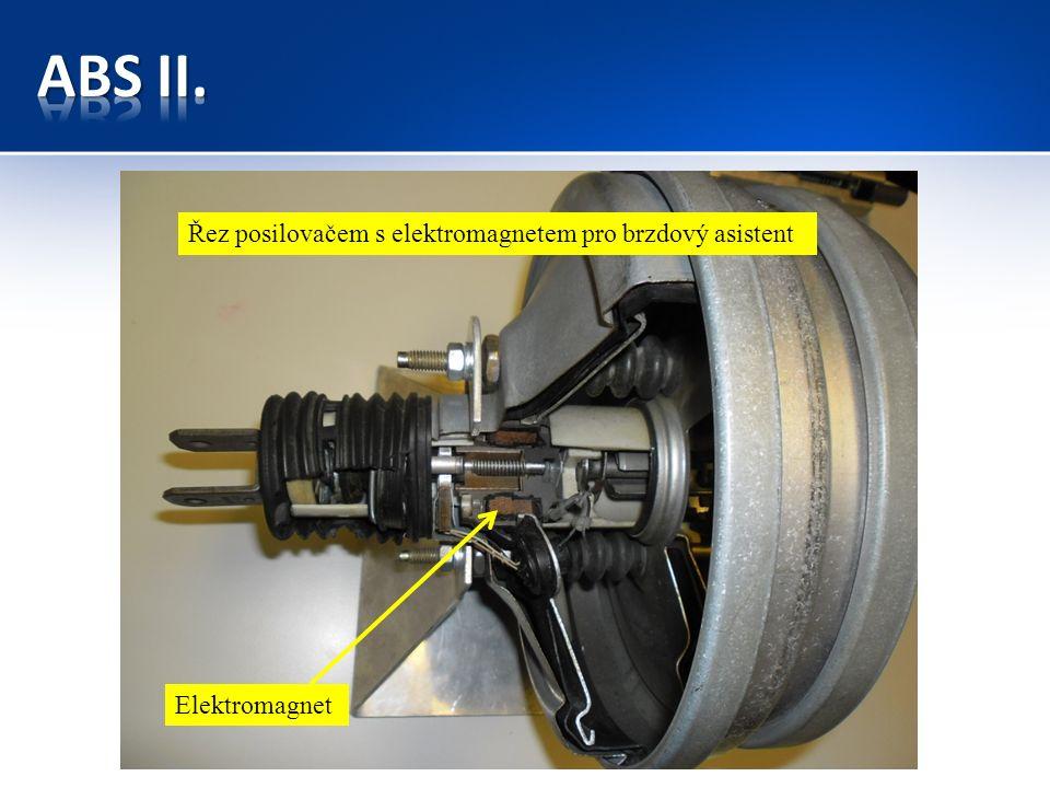Řez posilovačem s elektromagnetem pro brzdový asistent Elektromagnet