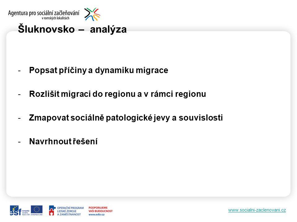 www.socialni-zaclenovani.cz Šluknovsko – analýza -Popsat příčiny a dynamiku migrace -Rozlišit migraci do regionu a v rámci regionu -Zmapovat sociálně