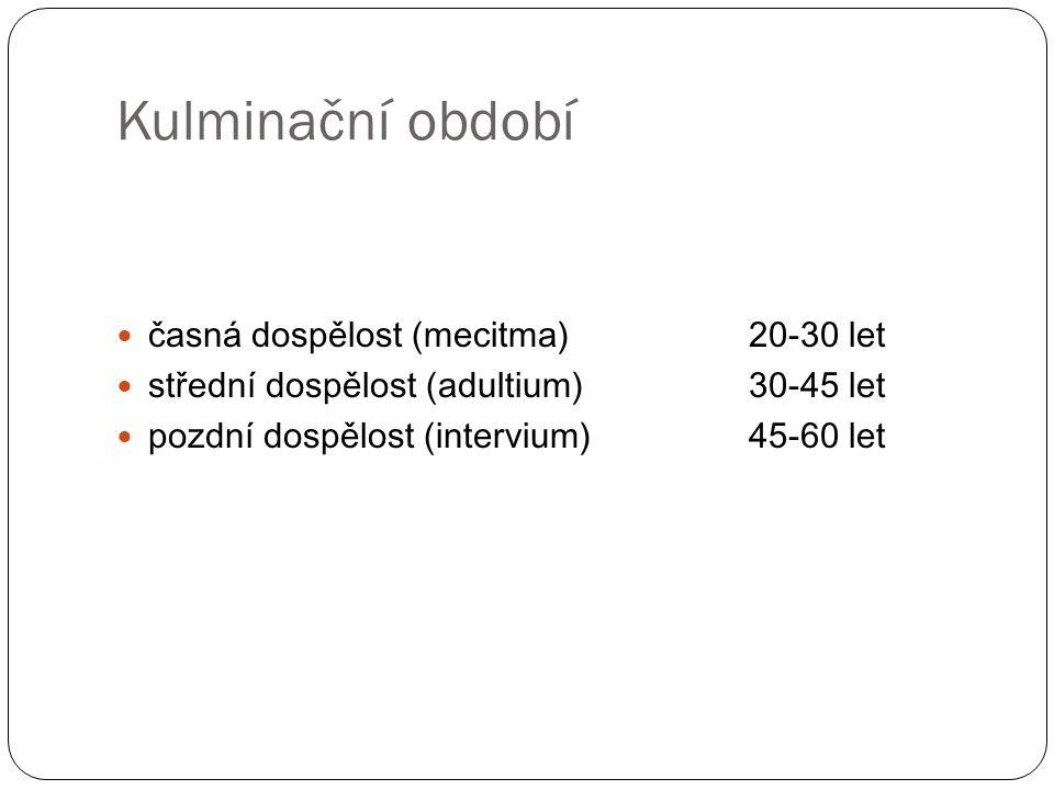 Kulminační období časná dospělost (mecitma)20-30 let střední dospělost (adultium)30-45 let pozdní dospělost (intervium)45-60 let