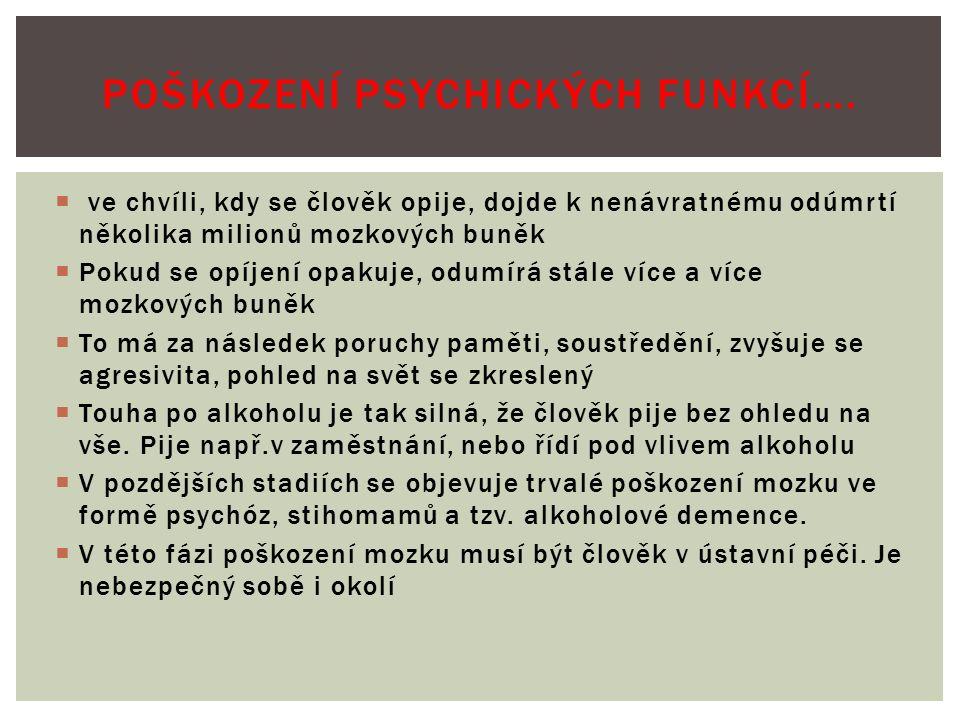  Opakovaným pitím agresivní, chemické látky jakou alkohol je dochází k poškození mnoha tělesných orgánů:  1.