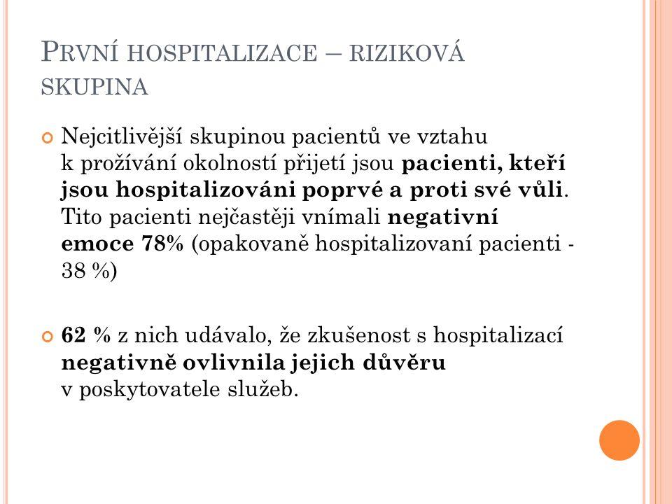 P RVNÍ HOSPITALIZACE – RIZIKOVÁ SKUPINA Nejcitlivější skupinou pacientů ve vztahu k prožívání okolností přijetí jsou pacienti, kteří jsou hospitalizováni poprvé a proti své vůli.