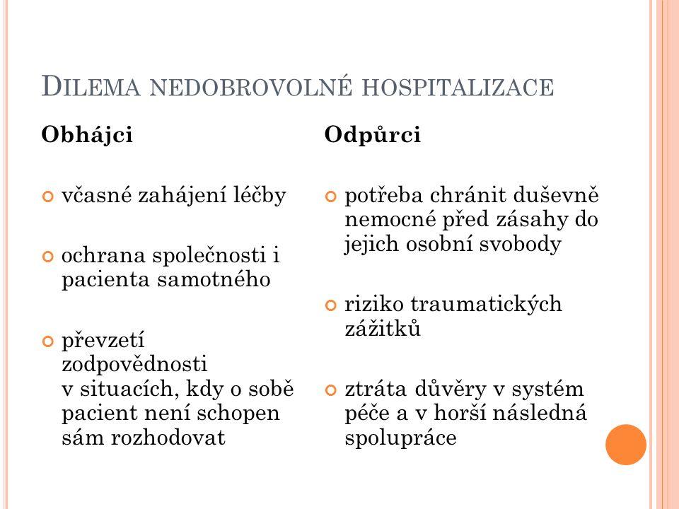 D ILEMA NEDOBROVOLNÉ HOSPITALIZACE Obhájci včasné zahájení léčby ochrana společnosti i pacienta samotného převzetí zodpovědnosti v situacích, kdy o so