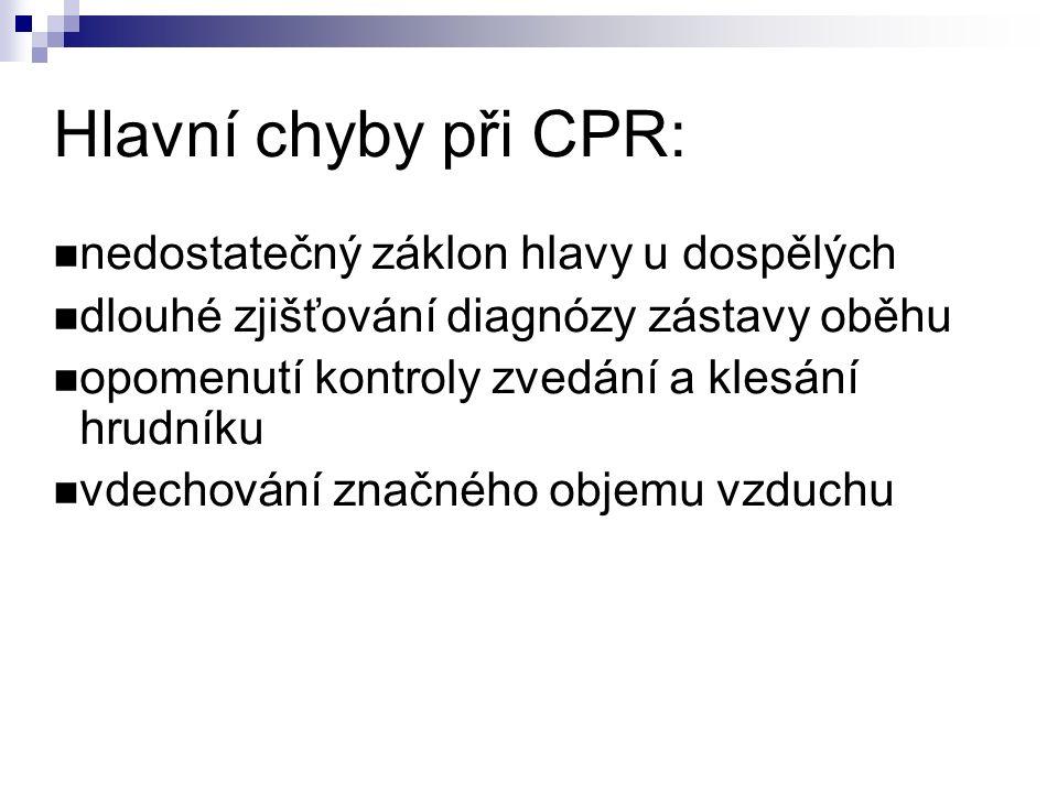 Hlavní chyby při CPR: nedostatečný záklon hlavy u dospělých dlouhé zjišťování diagnózy zástavy oběhu opomenutí kontroly zvedání a klesání hrudníku vdechování značného objemu vzduchu