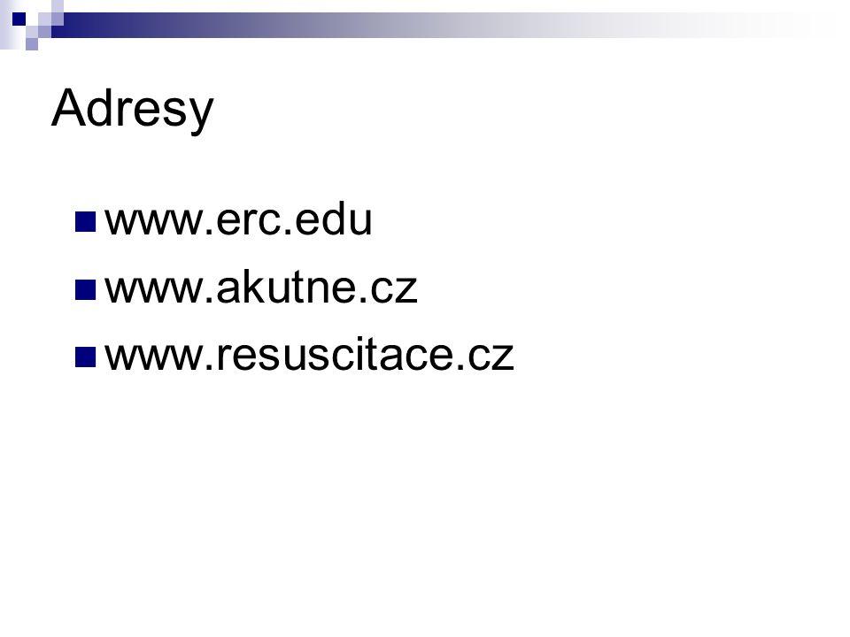 Adresy www.erc.edu www.akutne.cz www.resuscitace.cz