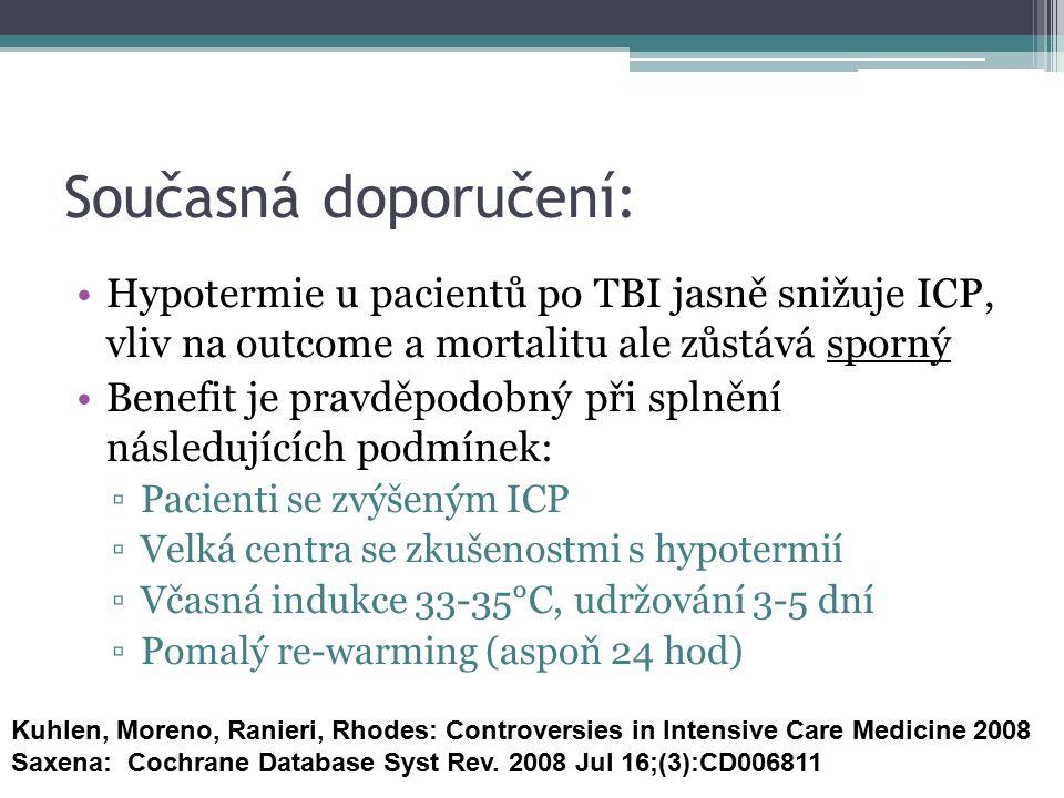 Současná doporučení: Hypotermie u pacientů po TBI jasně snižuje ICP, vliv na outcome a mortalitu ale zůstává sporný Benefit je pravděpodobný při splně