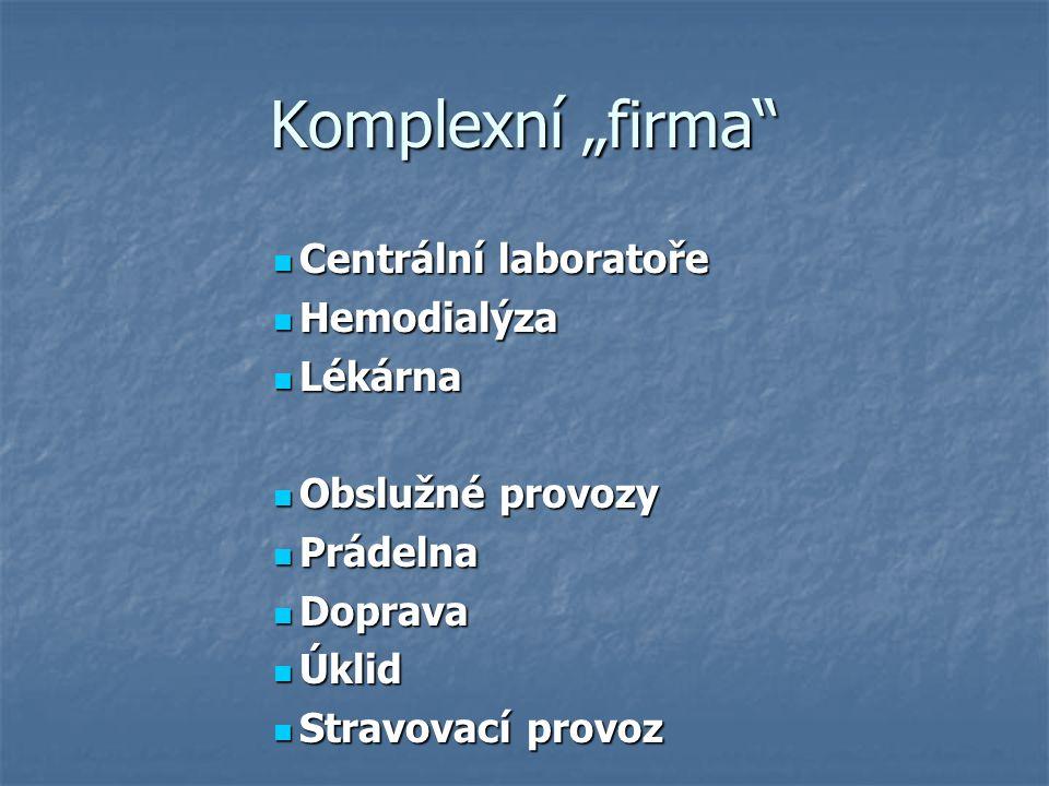 """Komplexní """"firma Centrální laboratoře Centrální laboratoře Hemodialýza Hemodialýza Lékárna Lékárna Obslužné provozy Obslužné provozy Prádelna Prádelna Doprava Doprava Úklid Úklid Stravovací provoz Stravovací provoz"""