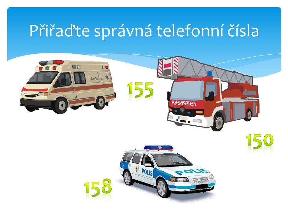 Přiřaďte správná telefonní čísla