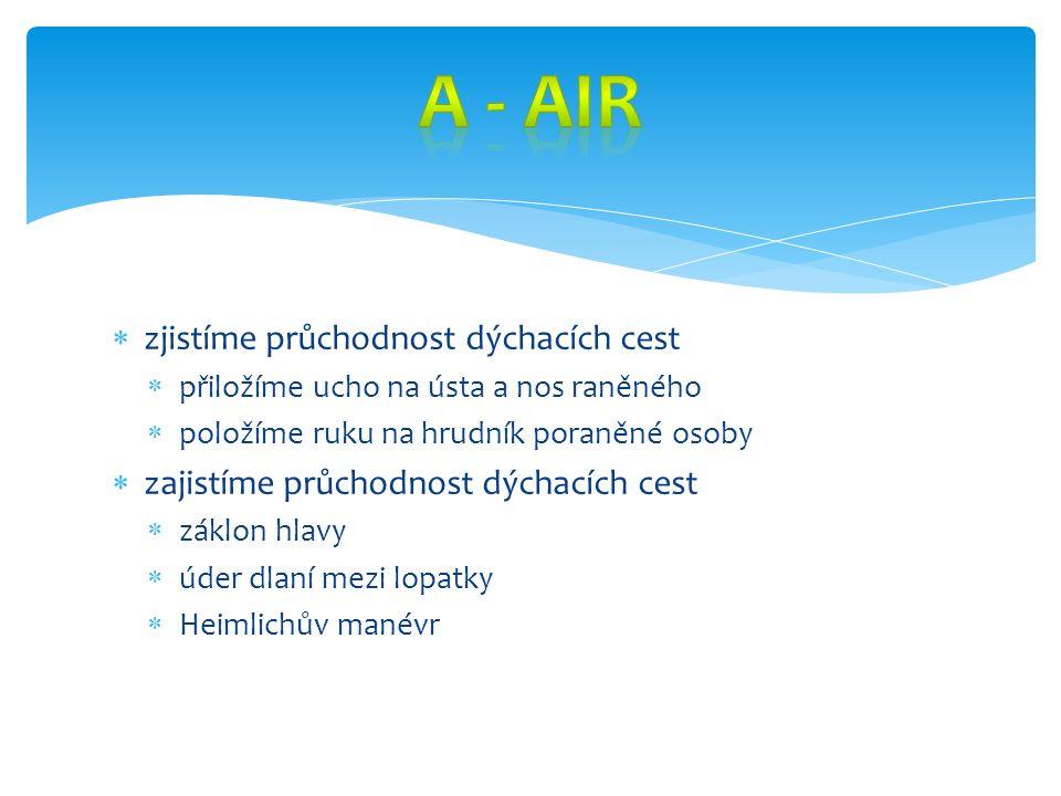  zjistíme průchodnost dýchacích cest  přiložíme ucho na ústa a nos raněného  položíme ruku na hrudník poraněné osoby  zajistíme průchodnost dýchac