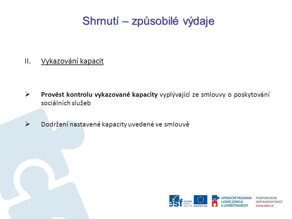 Shrnutí – způsobilé výdaje II.Vykazování kapacit  Provést kontrolu vykazované kapacity vyplývající ze smlouvy o poskytování sociálních služeb  Dodržení nastavené kapacity uvedené ve smlouvě