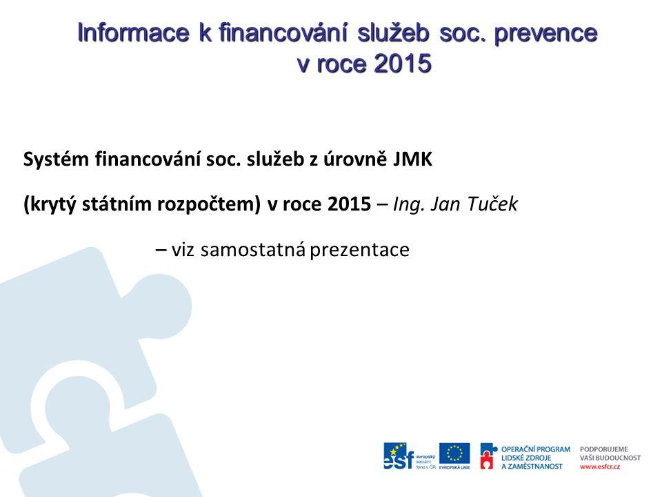 Informace k financování služeb soc. prevence v roce 2015 Systém financování soc.