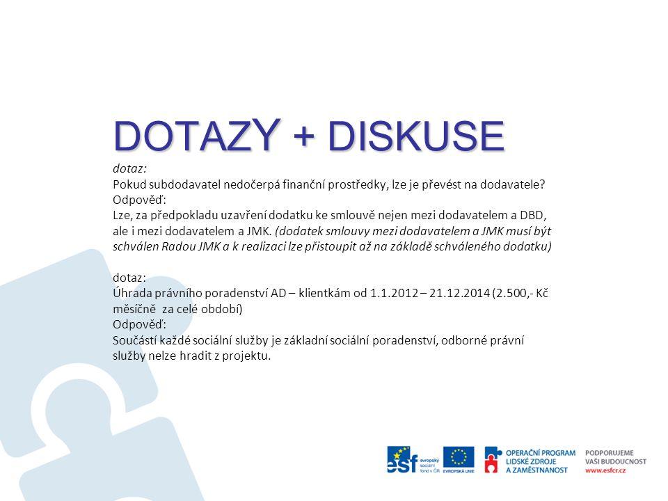 DOTAZ Y + DISKUSE DOTAZ Y + DISKUSE dotaz: Pokud subdodavatel nedočerpá finanční prostředky, lze je převést na dodavatele.