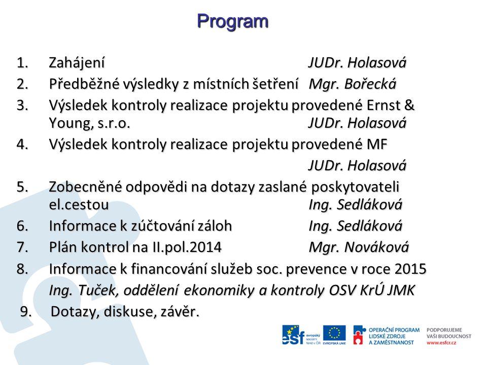 Program 1.Zahájení JUDr. Holasová 2.Předběžné výsledky z místních šetření Mgr.