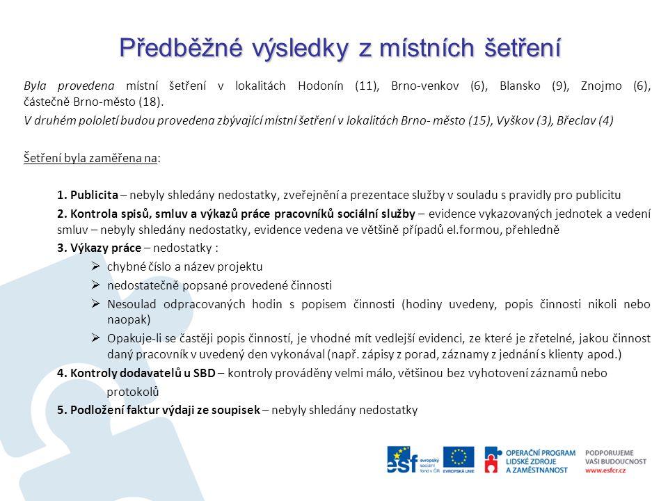 Předběžné výsledky z místních šetření Byla provedena místní šetření v lokalitách Hodonín (11), Brno-venkov (6), Blansko (9), Znojmo (6), částečně Brno-město (18).