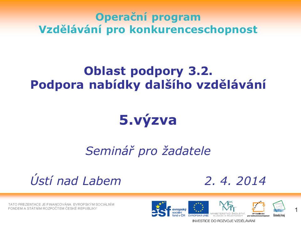 1 Operační program Vzdělávání pro konkurenceschopnost Oblast podpory 3.2.
