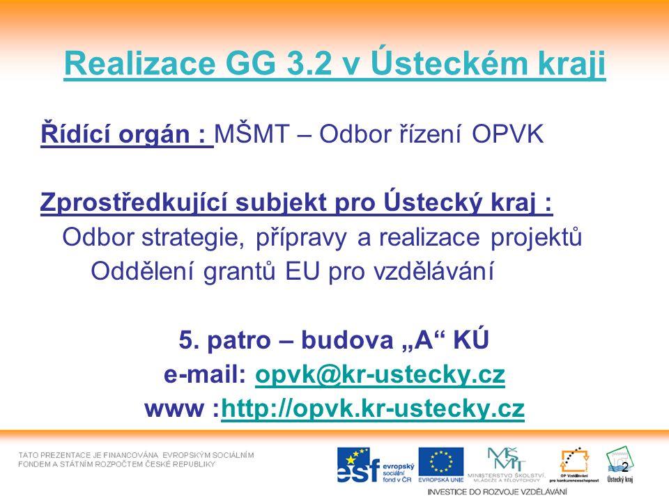 Realizace GG 3.2 v Ústeckém kraji Řídící orgán : MŠMT – Odbor řízení OPVK Zprostředkující subjekt pro Ústecký kraj : Odbor strategie, přípravy a realizace projektů Oddělení grantů EU pro vzdělávání 5.