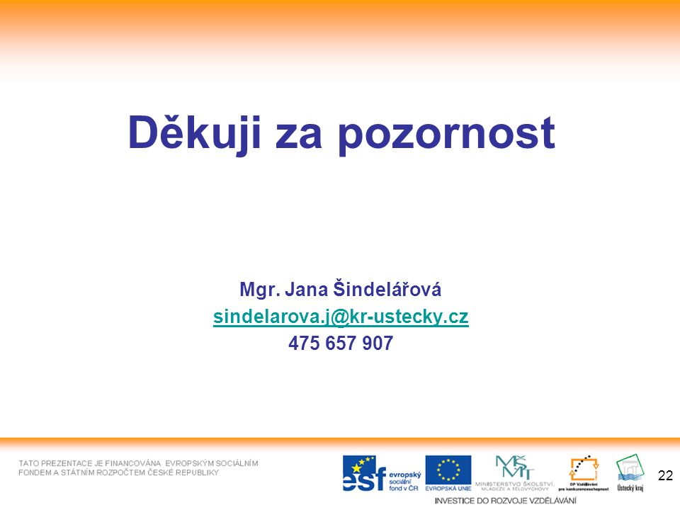 22 Děkuji za pozornost Mgr. Jana Šindelářová sindelarova.j@kr-ustecky.cz 475 657 907