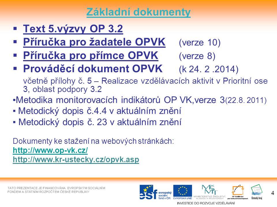 4 Základní dokumenty  Text 5.výzvy OP 3.2  Příručka pro žadatele OPVK (verze 10)  Příručka pro přímce OPVK (verze 8)  Prováděcí dokument OPVK (k 24.