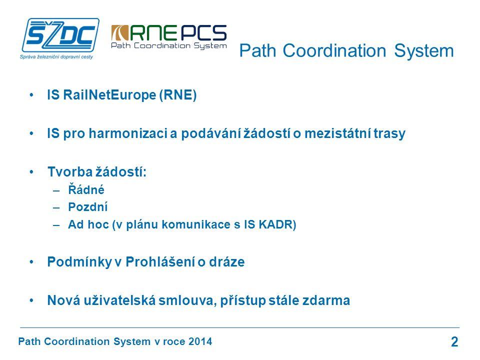 IS RailNetEurope (RNE) IS pro harmonizaci a podávání žádostí o mezistátní trasy Tvorba žádostí: –Řádné –Pozdní –Ad hoc (v plánu komunikace s IS KADR) Podmínky v Prohlášení o dráze Nová uživatelská smlouva, přístup stále zdarma Path Coordination System v roce 2014 Path Coordination System 2