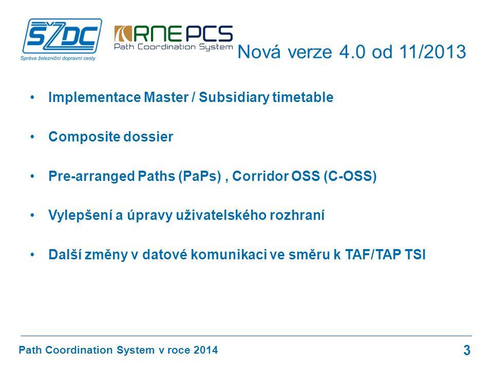 Implementace Master / Subsidiary timetable Composite dossier Pre-arranged Paths (PaPs), Corridor OSS (C-OSS) Vylepšení a úpravy uživatelského rozhraní Další změny v datové komunikaci ve směru k TAF/TAP TSI Path Coordination System v roce 2014 Nová verze 4.0 od 11/2013 3
