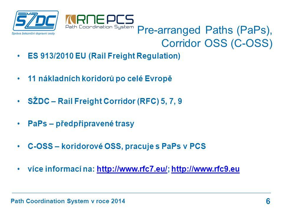 ES 913/2010 EU (Rail Freight Regulation) 11 nákladních koridorů po celé Evropě SŽDC – Rail Freight Corridor (RFC) 5, 7, 9 PaPs – předpřipravené trasy C-OSS – koridorové OSS, pracuje s PaPs v PCS více informací na: http://www.rfc7.eu/; http://www.rfc9.euhttp://www.rfc7.eu/http://www.rfc9.eu Path Coordination System v roce 2014 Pre-arranged Paths (PaPs), Corridor OSS (C-OSS) 6