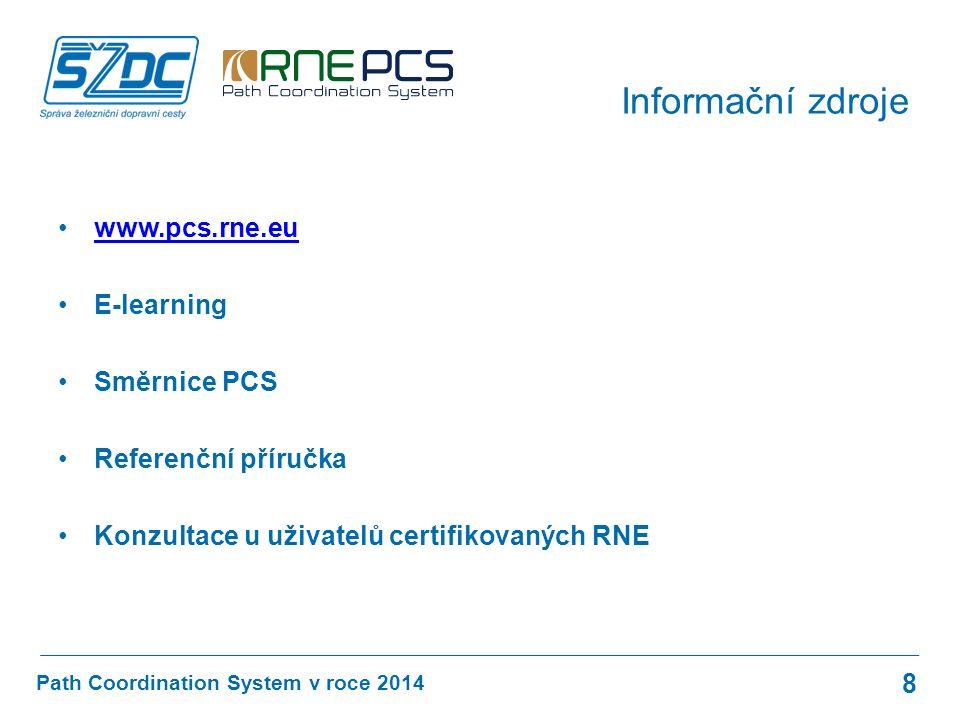 www.pcs.rne.eu E-learning Směrnice PCS Referenční příručka Konzultace u uživatelů certifikovaných RNE Path Coordination System v roce 2014 Informační zdroje 8