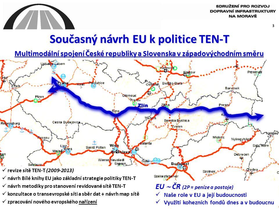 3 Současný návrh EU k politice TEN-T EU  ČR (2P ≈ peníze a postoje) Naše role v EU a její budoucnosti Využití kohezních fondů dnes a v budoucnu Multimodální spojení České republiky a Slovenska v západovýchodním směru revize sítě TEN-T (2009-2013) návrh Bílé knihy EU jako základní strategie politiky TEN-T návrh metodiky pro stanovení revidované sítě TEN-T konzultace o transevropské síti a sběr dat + návrh map sítě zpracování nového evropského nařízení