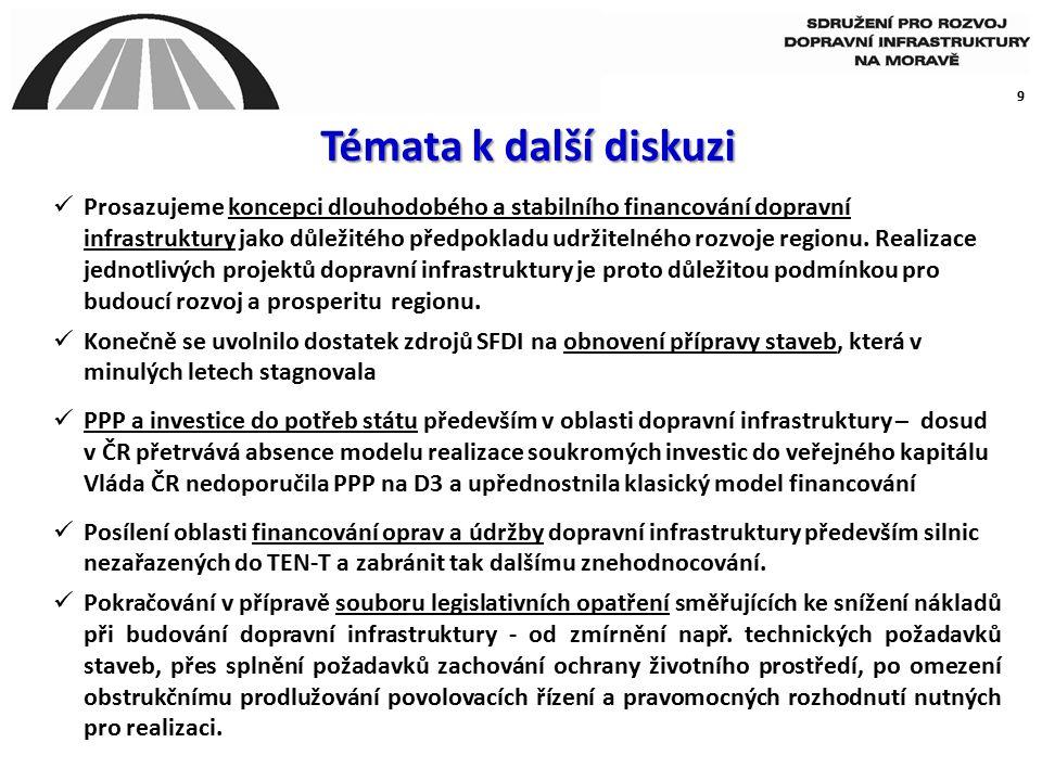 10 Priority střední a východní Moravy  urychlení přípravy a realizace dálnice D1 Říkovice - Přerov – Lipník (stavby 136 a 137) a návazného křížení s R55, včetně průtahu městem Přerov  realizace západovýchodního multimodálního spojení České a Slovenské republiky - 9.