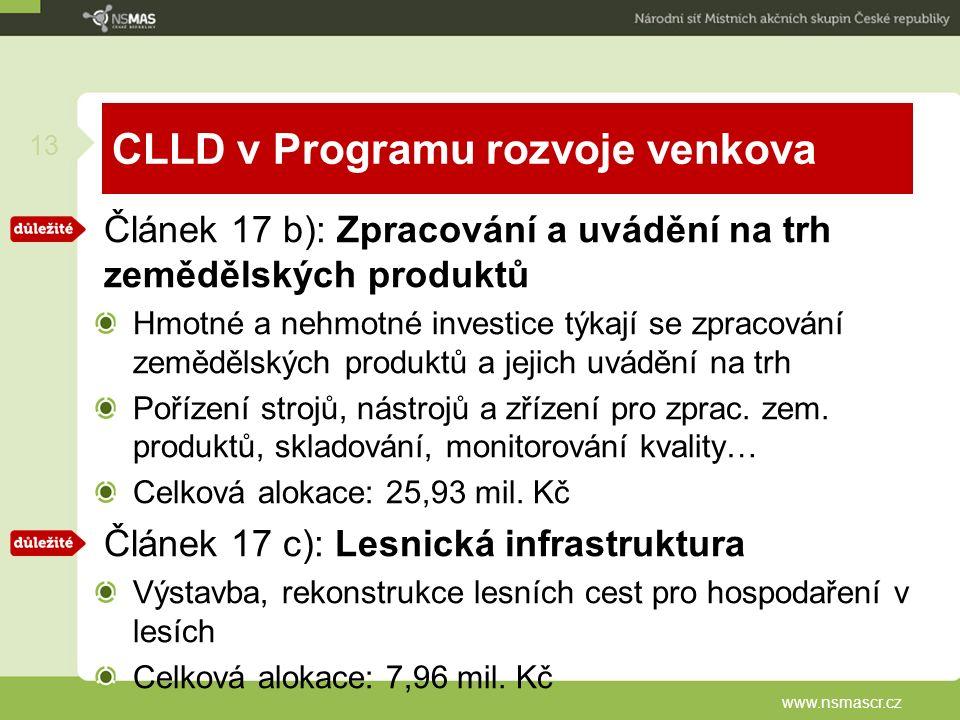 CLLD v Programu rozvoje venkova Článek 17 b): Zpracování a uvádění na trh zemědělských produktů Hmotné a nehmotné investice týkají se zpracování zemědělských produktů a jejich uvádění na trh Pořízení strojů, nástrojů a zřízení pro zprac.