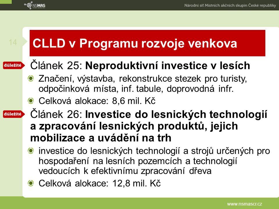 CLLD v Programu rozvoje venkova Článek 25: Neproduktivní investice v lesích Značení, výstavba, rekonstrukce stezek pro turisty, odpočinková místa, inf.