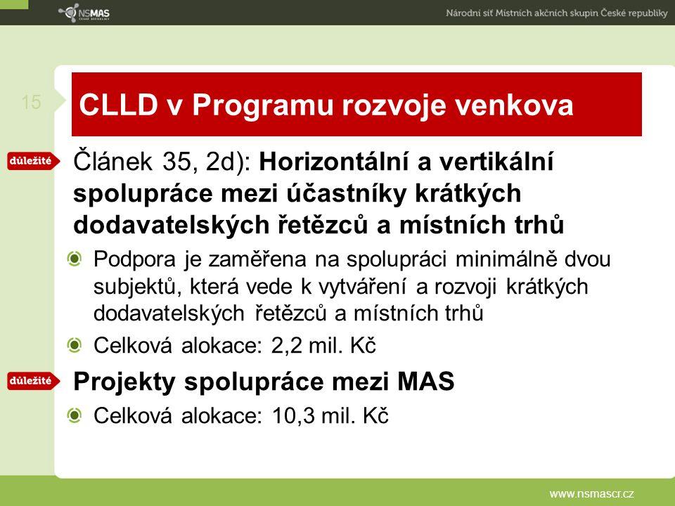 CLLD v Programu rozvoje venkova Článek 35, 2d): Horizontální a vertikální spolupráce mezi účastníky krátkých dodavatelských řetězců a místních trhů Podpora je zaměřena na spolupráci minimálně dvou subjektů, která vede k vytváření a rozvoji krátkých dodavatelských řetězců a místních trhů Celková alokace: 2,2 mil.