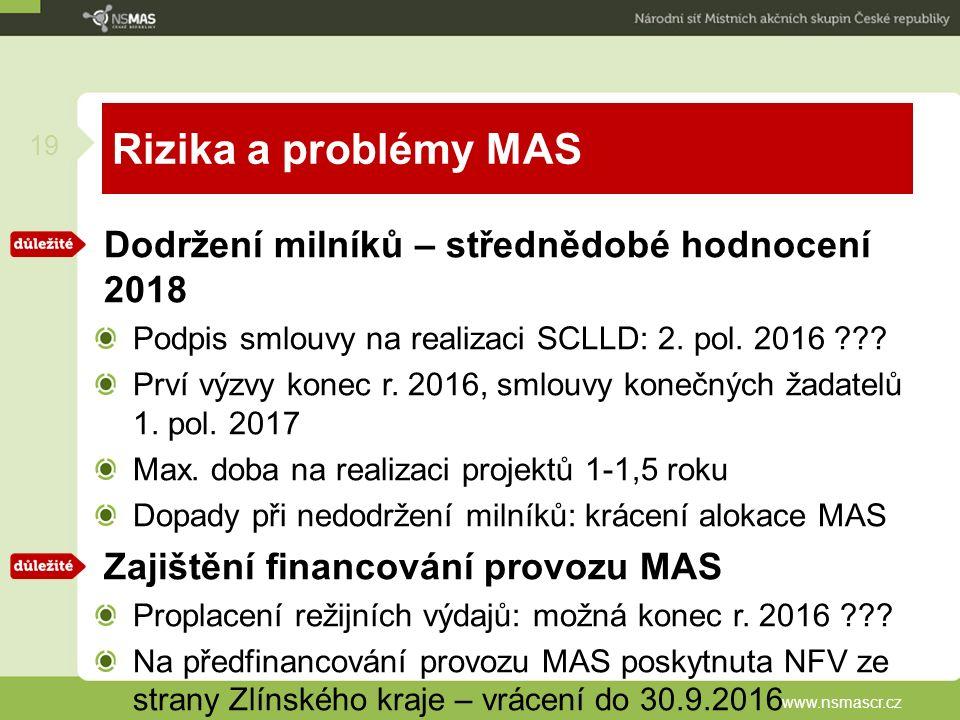 Rizika a problémy MAS Dodržení milníků – střednědobé hodnocení 2018 Podpis smlouvy na realizaci SCLLD: 2.