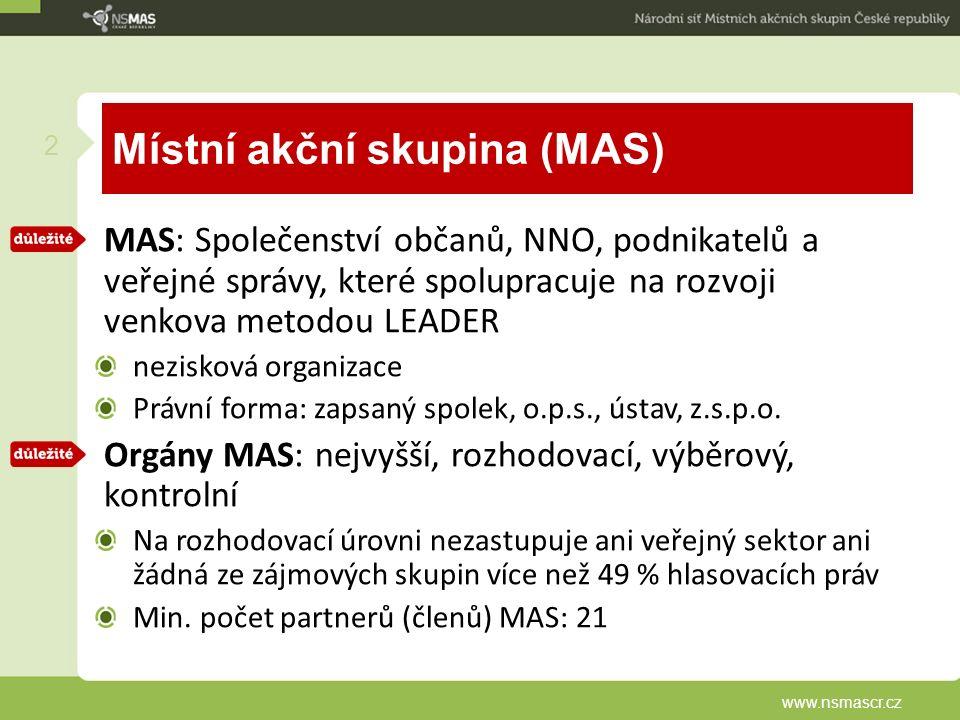 Místní akční skupina (MAS) MAS: Společenství občanů, NNO, podnikatelů a veřejné správy, které spolupracuje na rozvoji venkova metodou LEADER nezisková organizace Právní forma: zapsaný spolek, o.p.s., ústav, z.s.p.o.