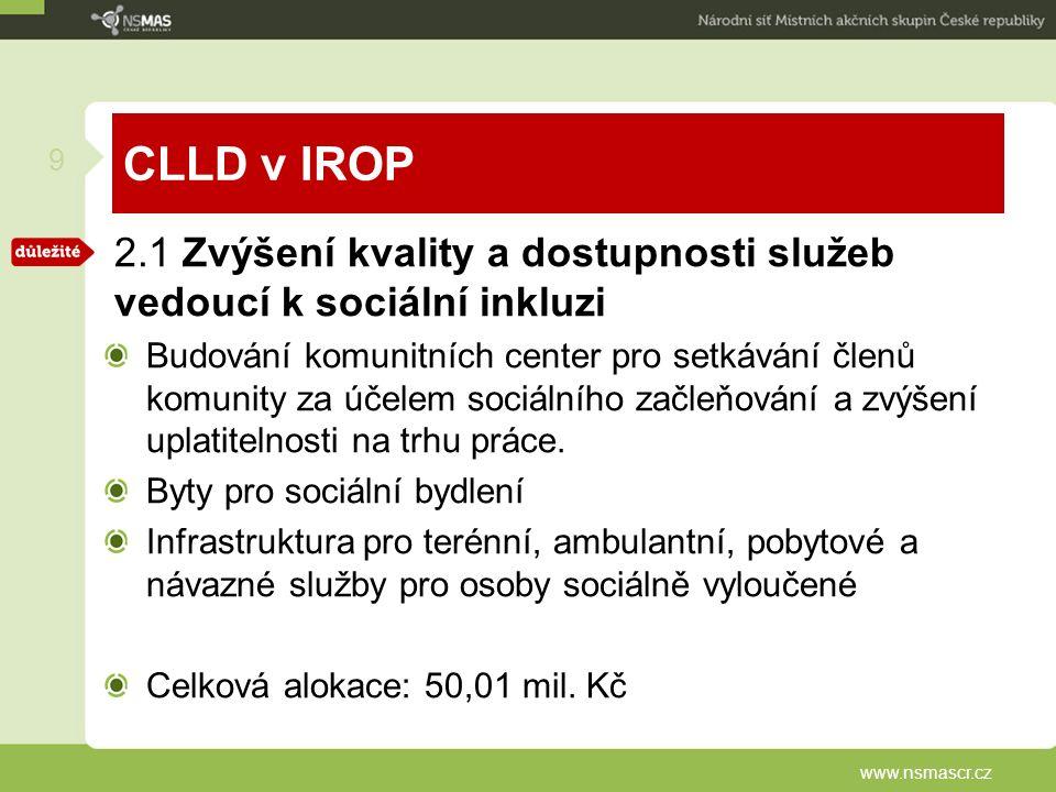 CLLD v IROP 2.1 Zvýšení kvality a dostupnosti služeb vedoucí k sociální inkluzi Budování komunitních center pro setkávání členů komunity za účelem sociálního začleňování a zvýšení uplatitelnosti na trhu práce.