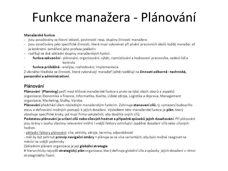 Funkce manažera - Plánování Manažerské funkce -jsou považovány za hlavní oblasti, povinnosti resp.
