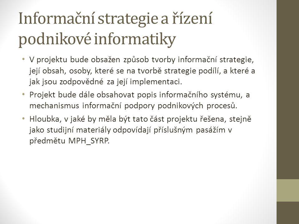 Informační strategie a řízení podnikové informatiky V projektu bude obsažen způsob tvorby informační strategie, její obsah, osoby, které se na tvorbě strategie podílí, a které a jak jsou zodpovědné za její implementaci.