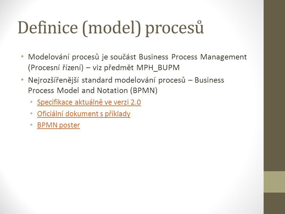 Definice (model) procesů Modelování procesů je součást Business Process Management (Procesní řízení) – viz předmět MPH_BUPM Nejrozšířenější standard modelování procesů – Business Process Model and Notation (BPMN) Specifikace aktuálně ve verzi 2.0 Oficiální dokument s příklady BPMN poster