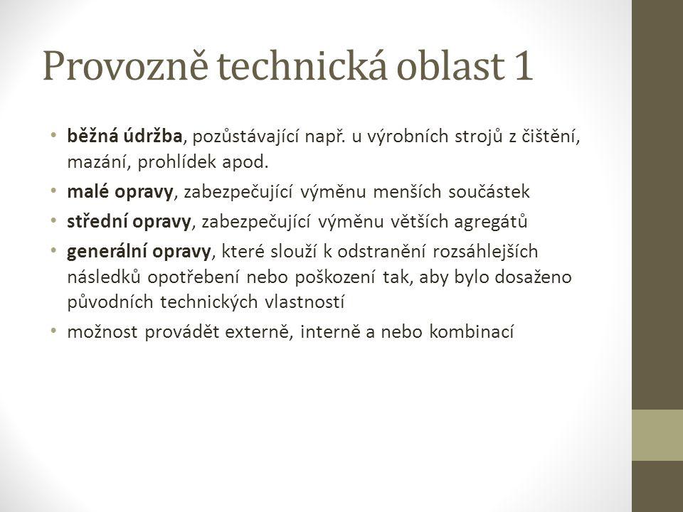 Provozně technická oblast 1 běžná údržba, pozůstávající např.