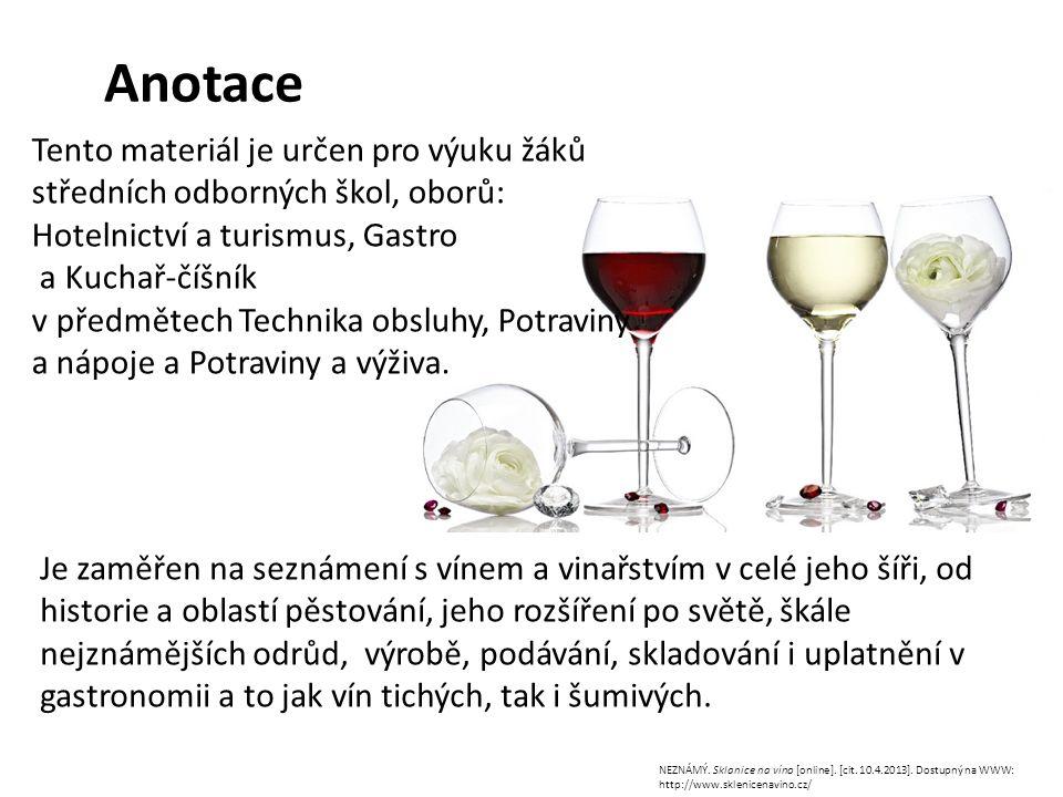 Anotace NEZNÁMÝ. Sklanice na víno [online]. [cit. 10.4.2013]. Dostupný na WWW: http://www.sklenicenavino.cz/ Tento materiál je určen pro výuku žáků st