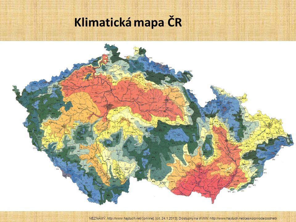 Klimatická mapa ČR NEZNÁMÝ. http://www.hajduch.net/ [online]. [cit. 24.1.2013]. Dostupný na WWW: http://www.hajduch.net/cesko/priroda/podnebi