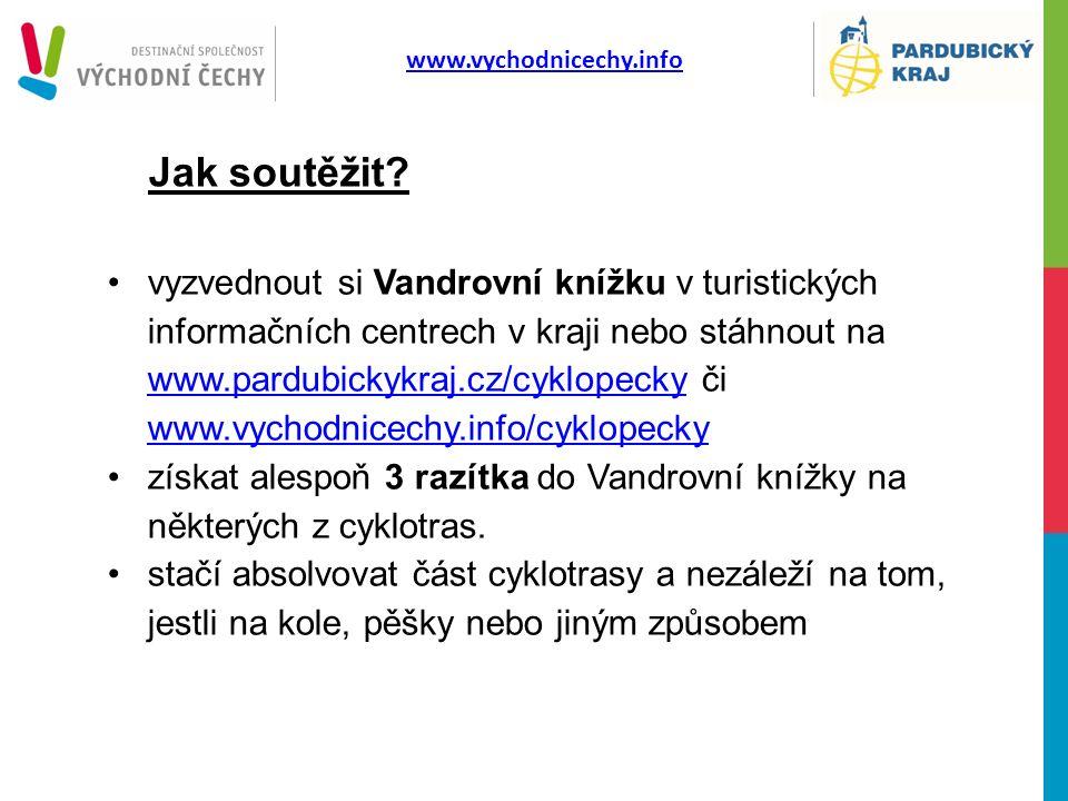 www.vychodnicechy.info Jak soutěžit? vyzvednout si Vandrovní knížku v turistických informačních centrech v kraji nebo stáhnout na www.pardubickykraj.c