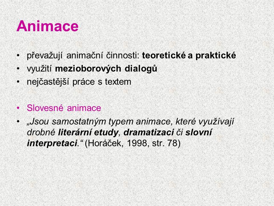 """Animace převažují animační činnosti: teoretické a praktické využití mezioborových dialogů nejčastější práce s textem Slovesné animace """"Jsou samostatný"""