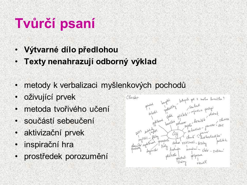 Tvůrčí psaní Výtvarné dílo předlohou Texty nenahrazují odborný výklad metody k verbalizaci myšlenkových pochodů oživující prvek metoda tvořivého učení