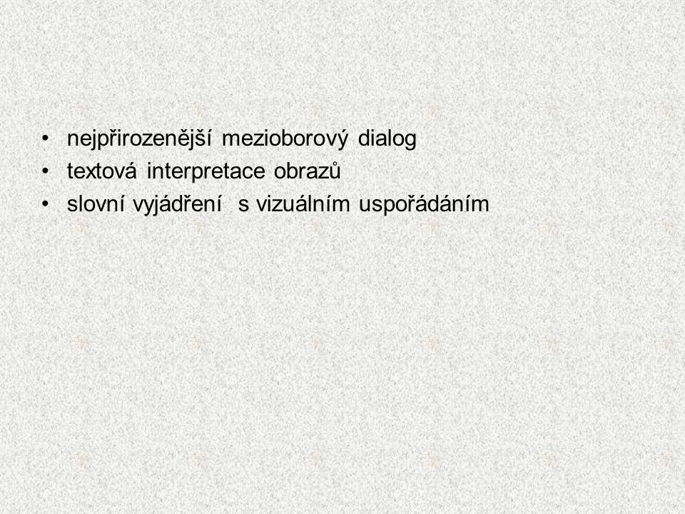 nejpřirozenější mezioborový dialog textová interpretace obrazů slovní vyjádření s vizuálním uspořádáním
