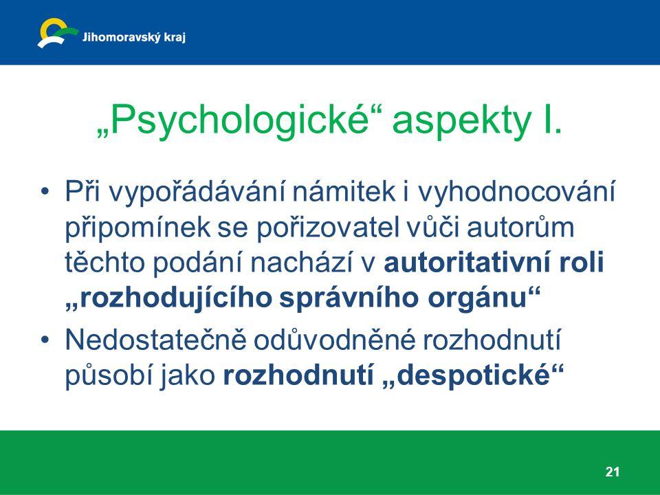 """""""Psychologické aspekty I."""