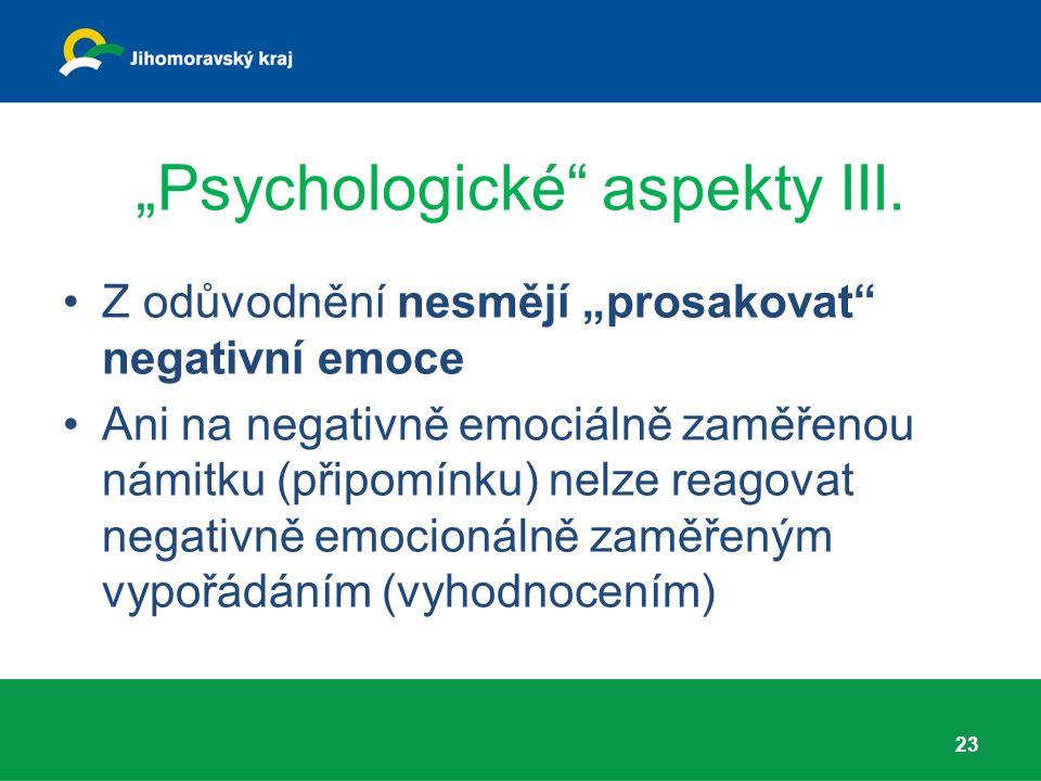 """Psychologické aspekty III."