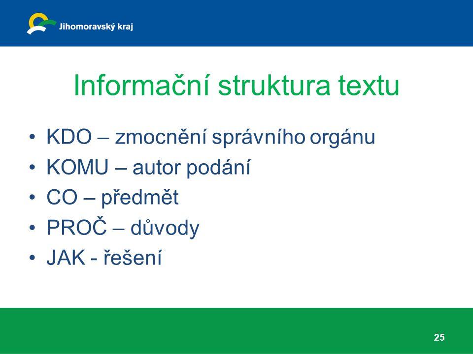 Informační struktura textu KDO – zmocnění správního orgánu KOMU – autor podání CO – předmět PROČ – důvody JAK - řešení 25
