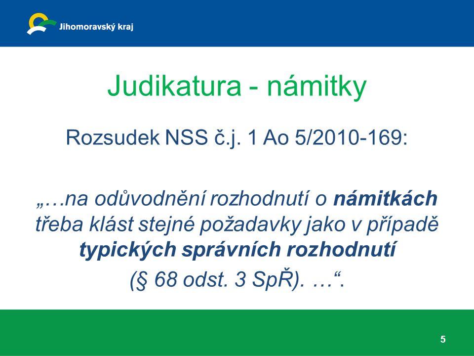"""Judikatura - připomínky Rozsudek NSS č.j.1 Ao 3/2008-136: """"..."""