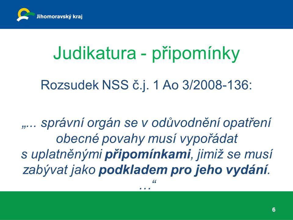 """Judikatura - připomínky Rozsudek NSS č.j. 1 Ao 3/2008-136: """"..."""